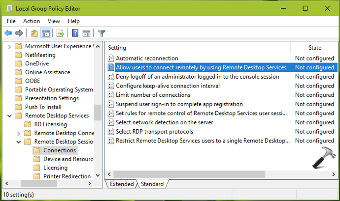Allow Prevent Users To Connect Remotely By Using Remote Desktop Services