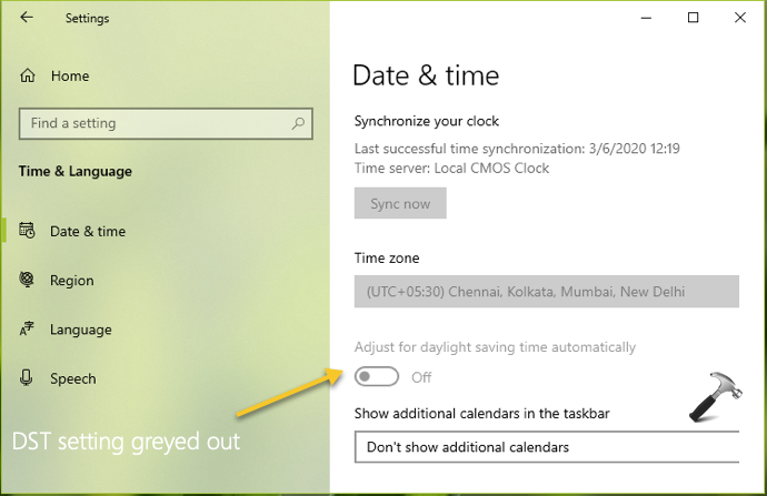Daylight Saving Time Setting Is Greyed Out In Windows 10