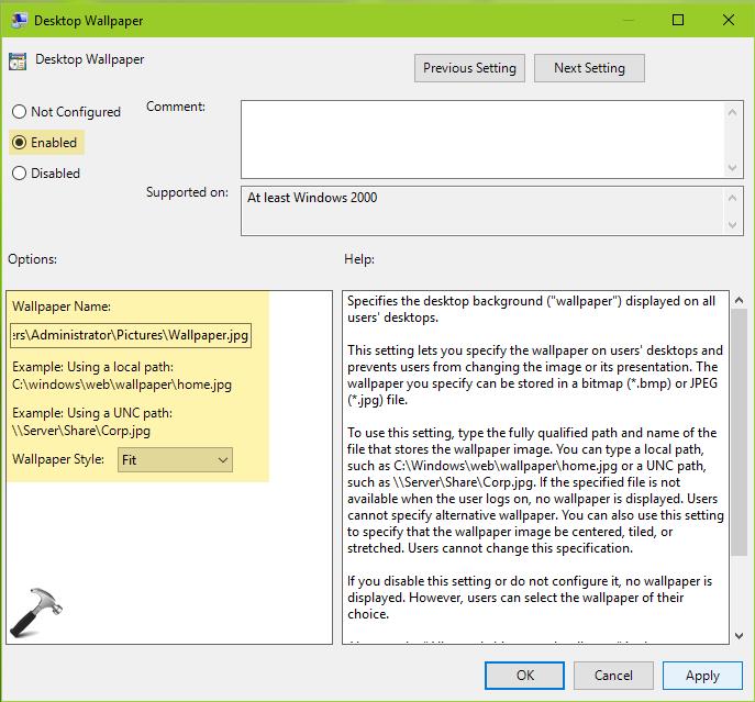 Deploy Desktop Wallpaper Through Group Policy In Server 2019