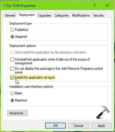 FIX Install This Application At Logon Option Greyed Out