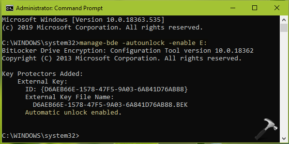 Disable Auto Unlock For A BitLocker Drive
