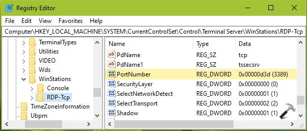 RDP Port Not Listening In Windows 10