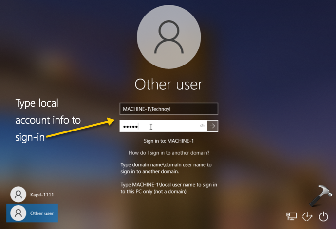 Login To Local Account On Windows 10 Connected To Domain