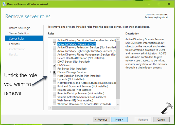 Removing Roles And Features In Windows Server 2019