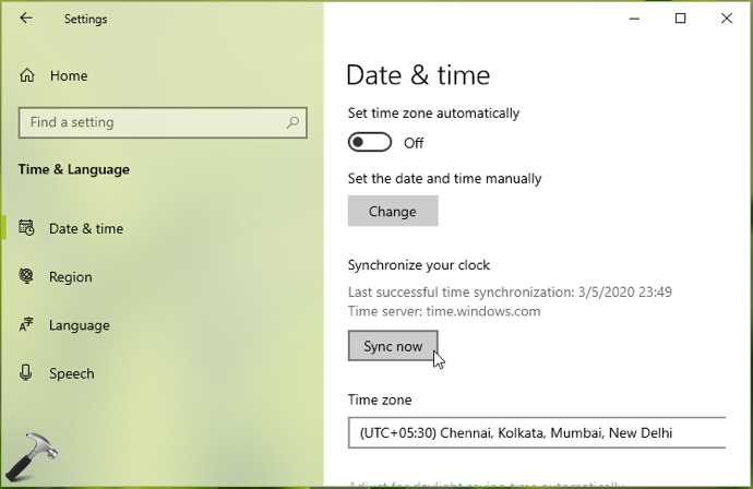Synchronize Time With Internet Server In Windows