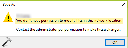 You Don't Have Permission To Modify Files In This Network Location